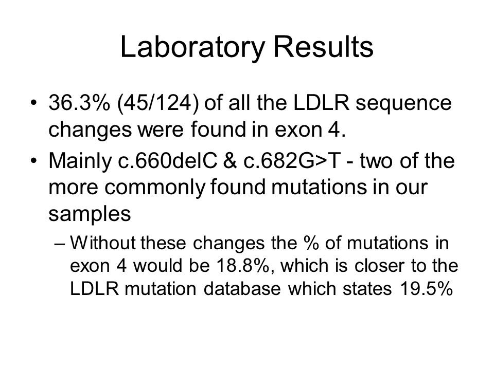 Laboratory Results 36.3% (45/124) of all the LDLR sequence changes were found in exon 4.