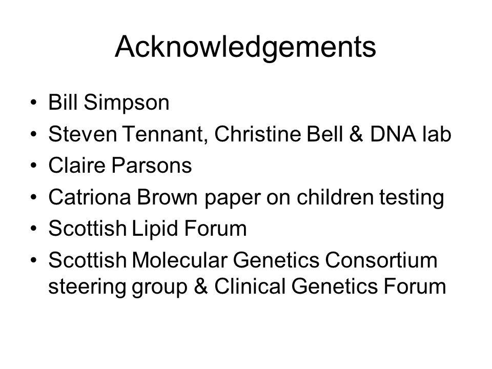 Acknowledgements Bill Simpson Steven Tennant, Christine Bell & DNA lab