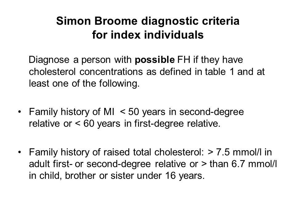 Simon Broome diagnostic criteria for index individuals
