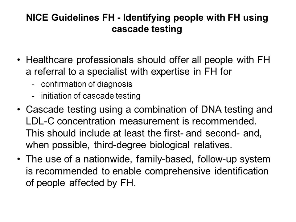 NICE Guidelines FH - Identifying people with FH using cascade testing