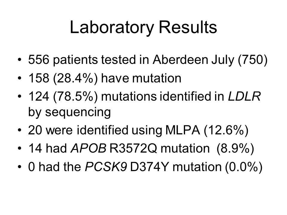 Laboratory Results 556 patients tested in Aberdeen July (750)