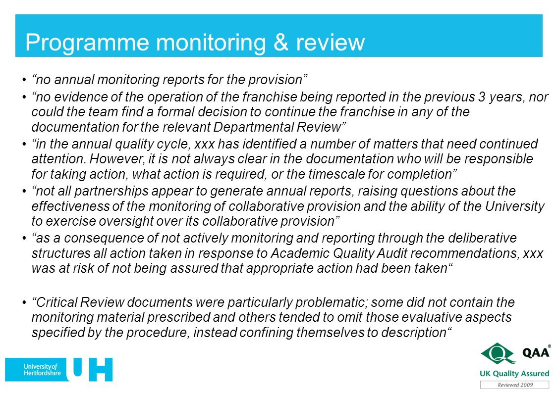 Programme monitoring & review