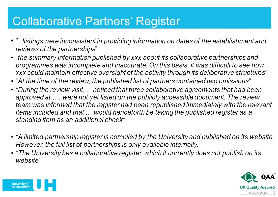 Collaborative Partners' Register