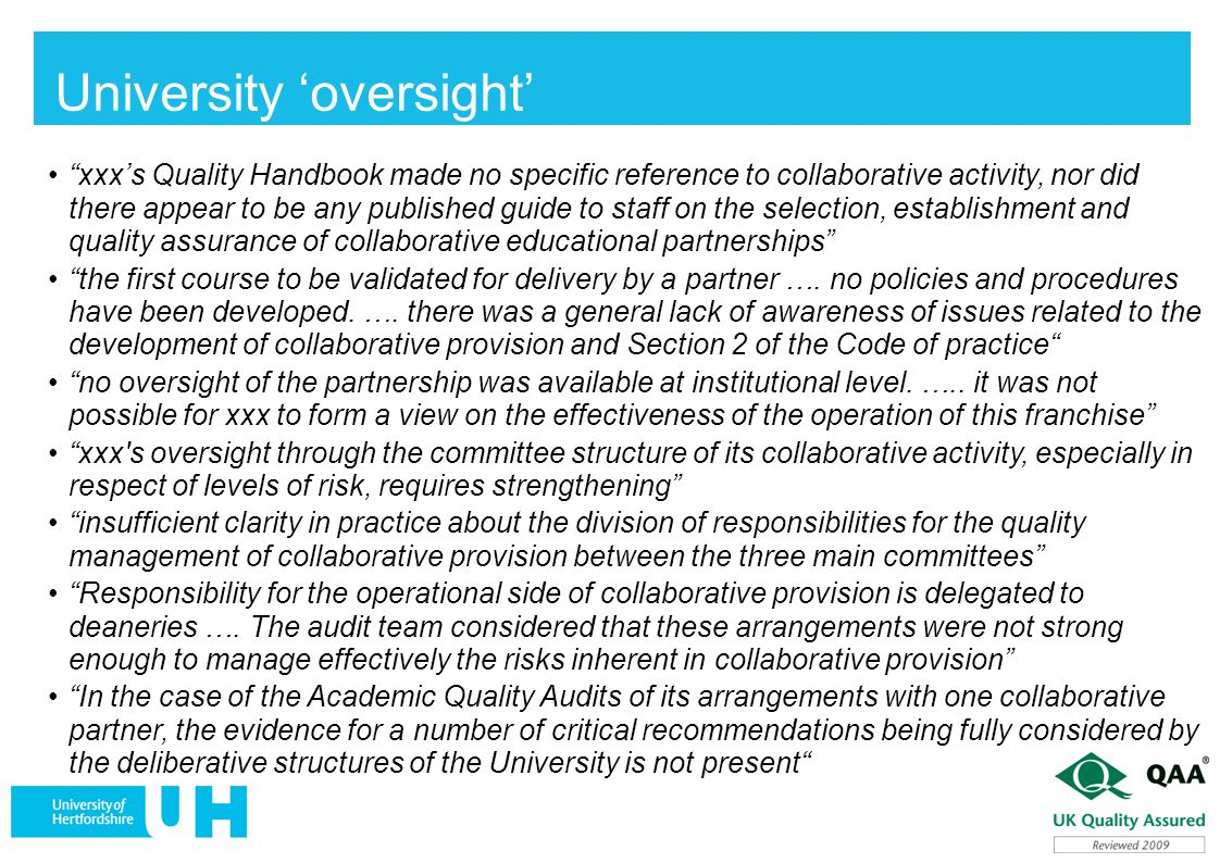 University 'oversight'