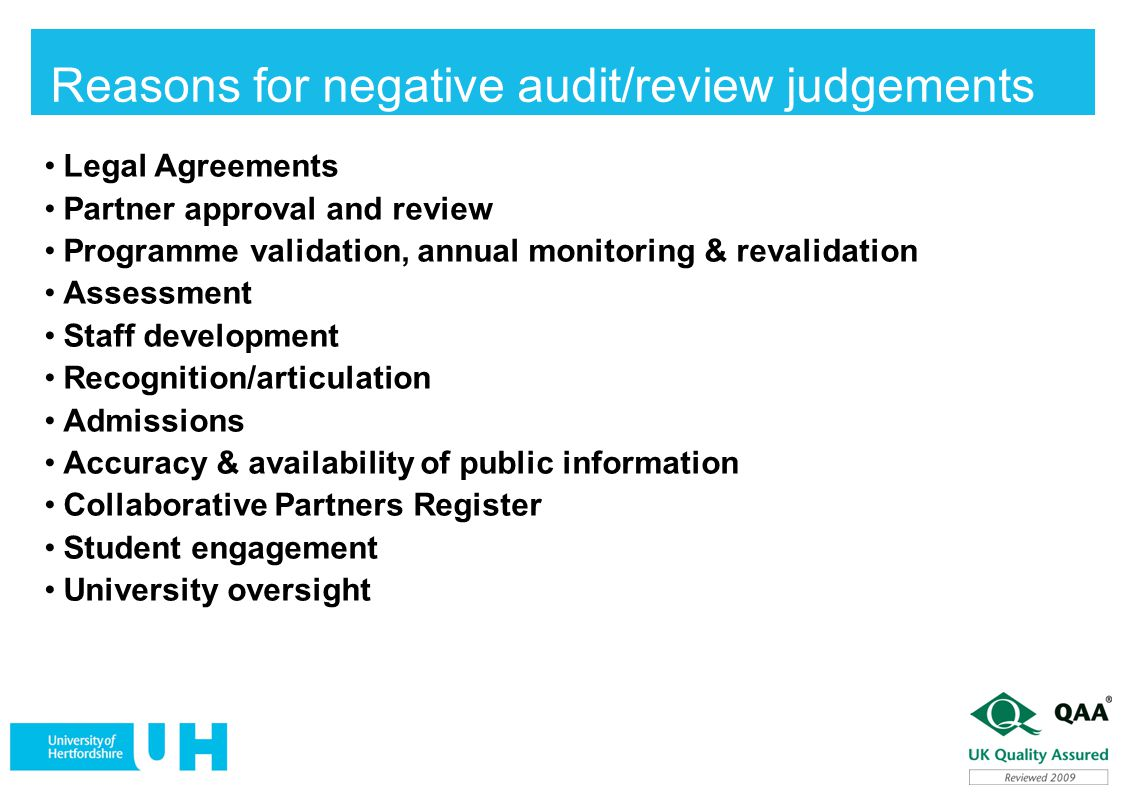 Reasons for negative audit/review judgements