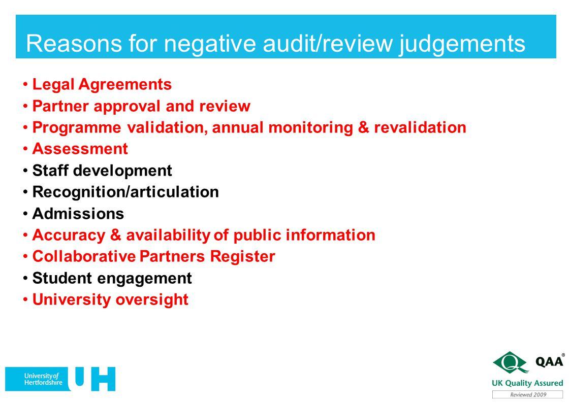 Reasons for negative audit/review judgements