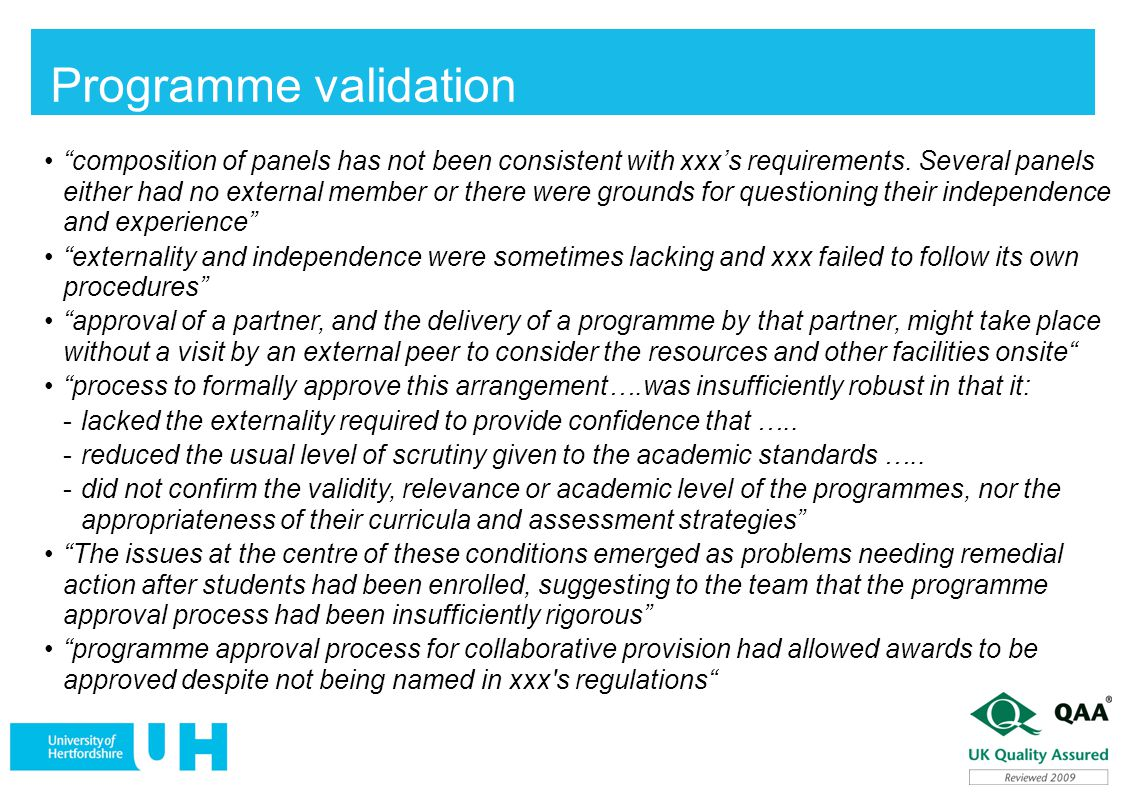 Programme validation