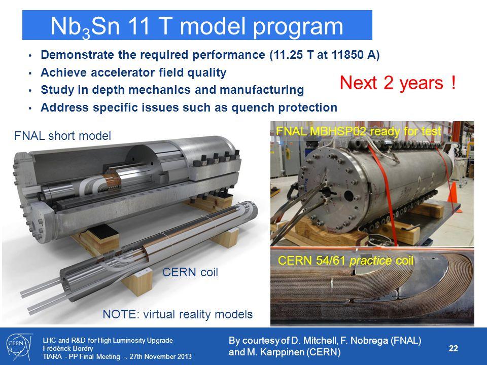 Nb3Sn 11 T model program Next 2 years !