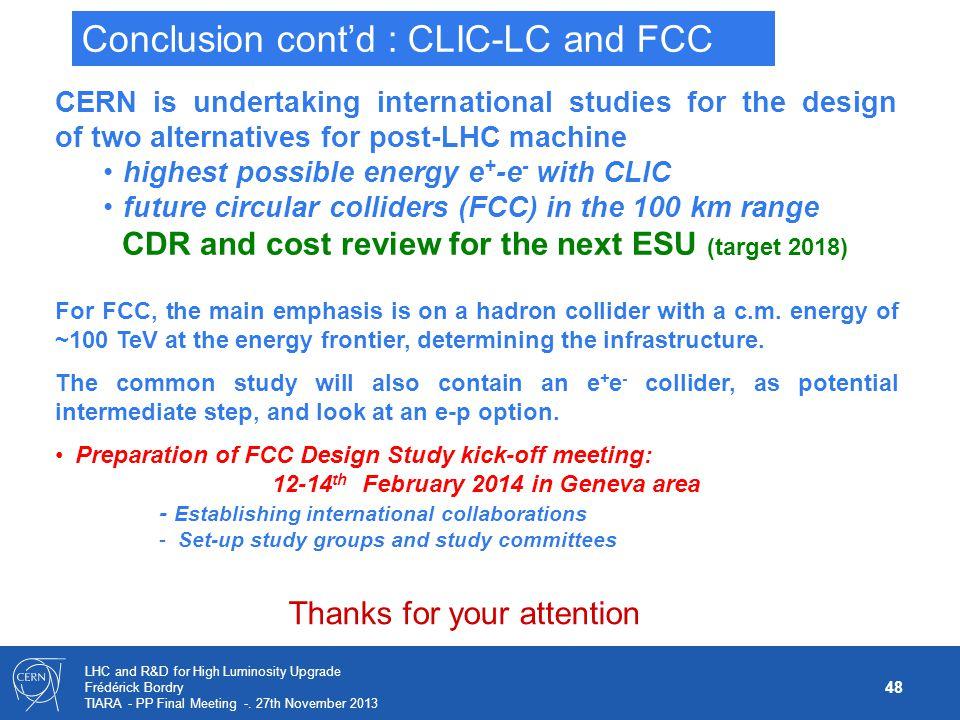 Conclusion cont'd : CLIC-LC and FCC