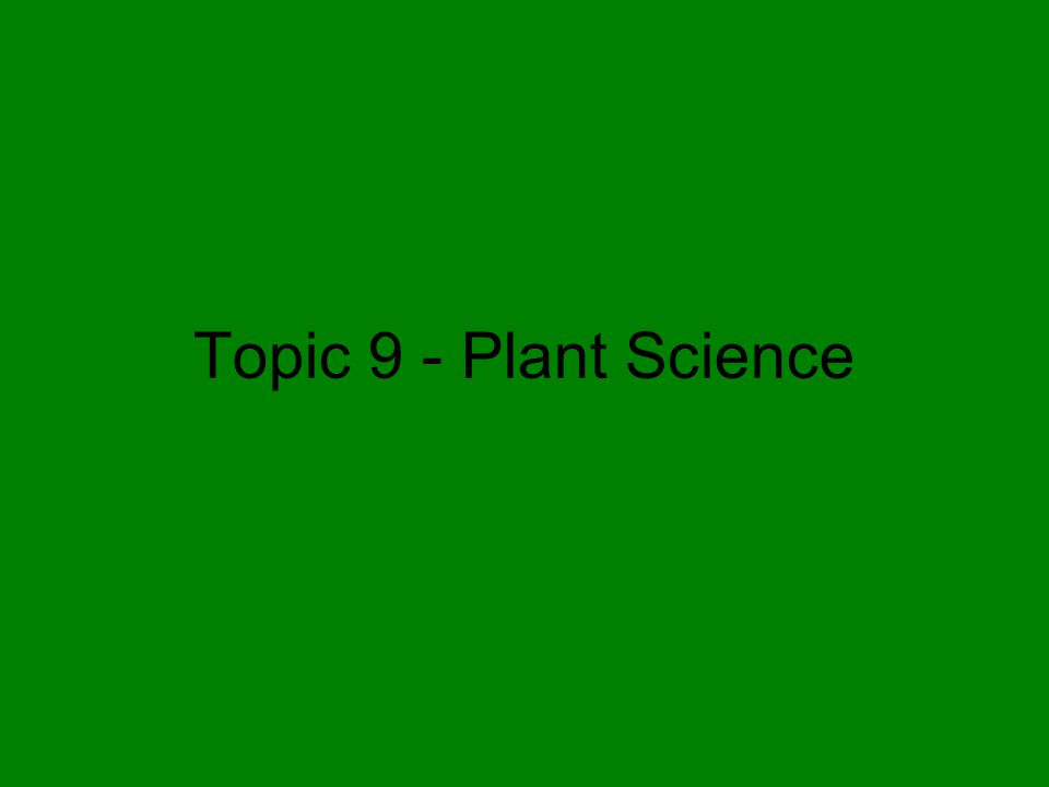 Topic 9 - Plant Science