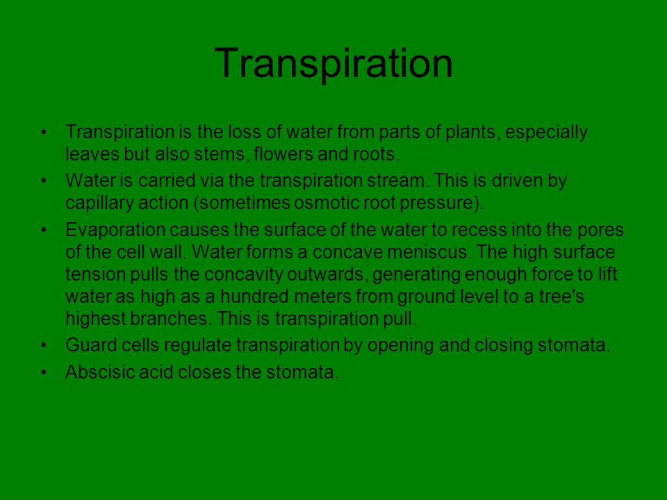 Transpiration Transpiration is the loss of water from parts of plants, especially leaves but also stems, flowers and roots.
