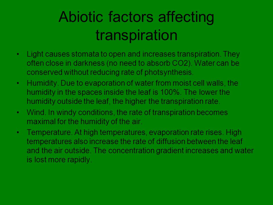 Abiotic factors affecting transpiration