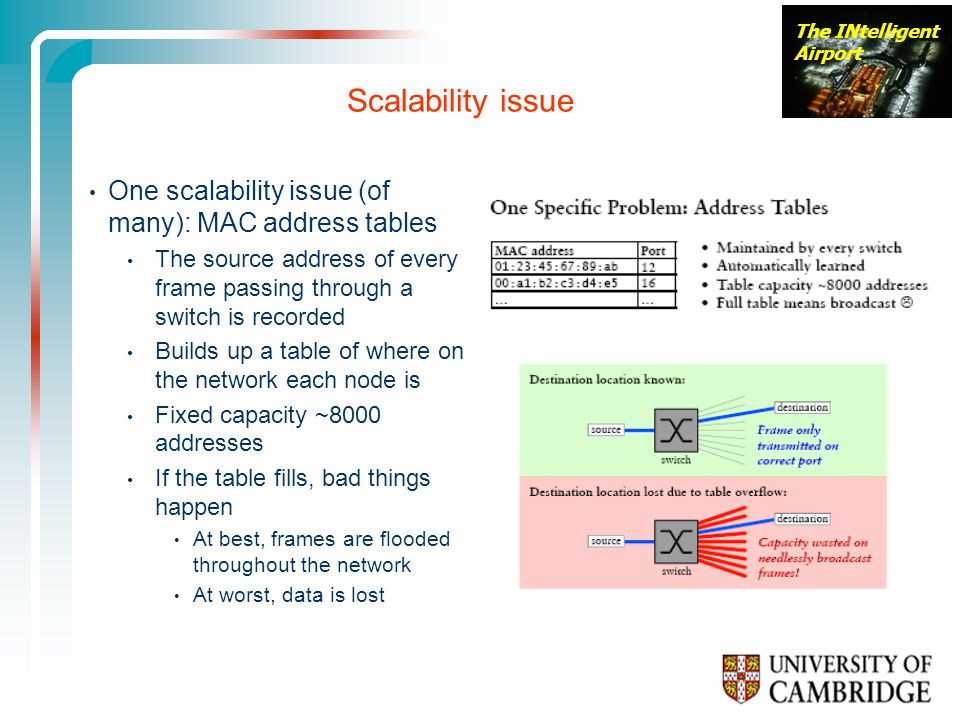 Scalability issue One scalability issue (of many): MAC address tables