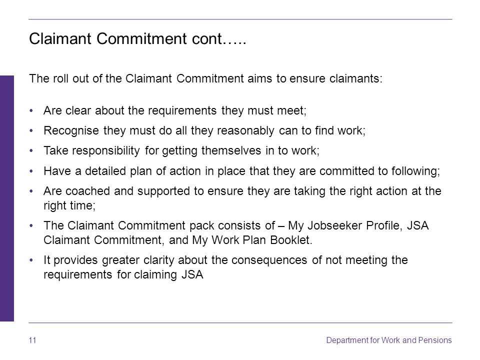 Claimant Commitment cont…..