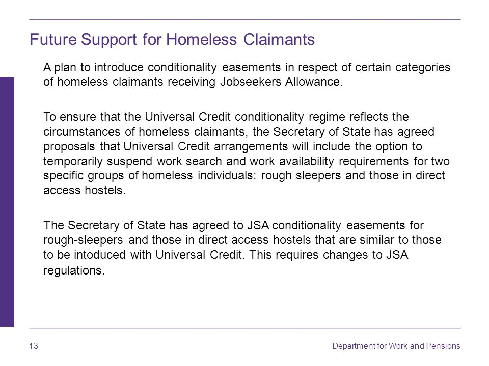 Future Support for Homeless Claimants