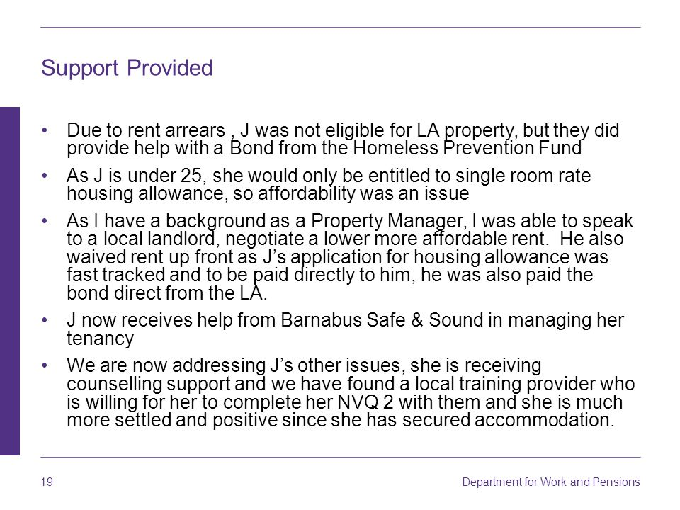 Support Provided Due to rent arrears , J was not eligible for LA property, but they did provide help with a Bond from the Homeless Prevention Fund.