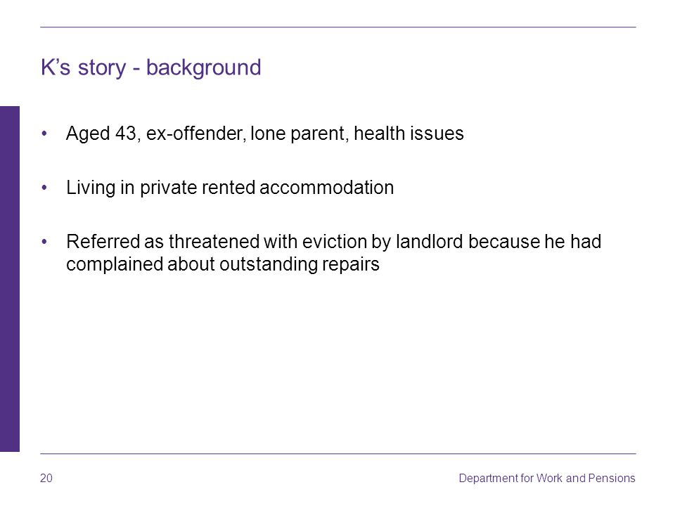 K's story - background Aged 43, ex-offender, lone parent, health issues. Living in private rented accommodation.