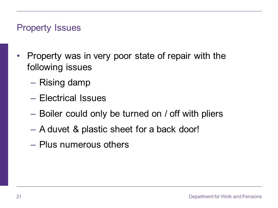 Property Issues Property was in very poor state of repair with the following issues. Rising damp. Electrical Issues.