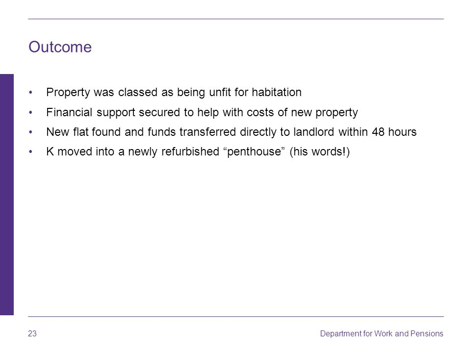 Outcome Property was classed as being unfit for habitation