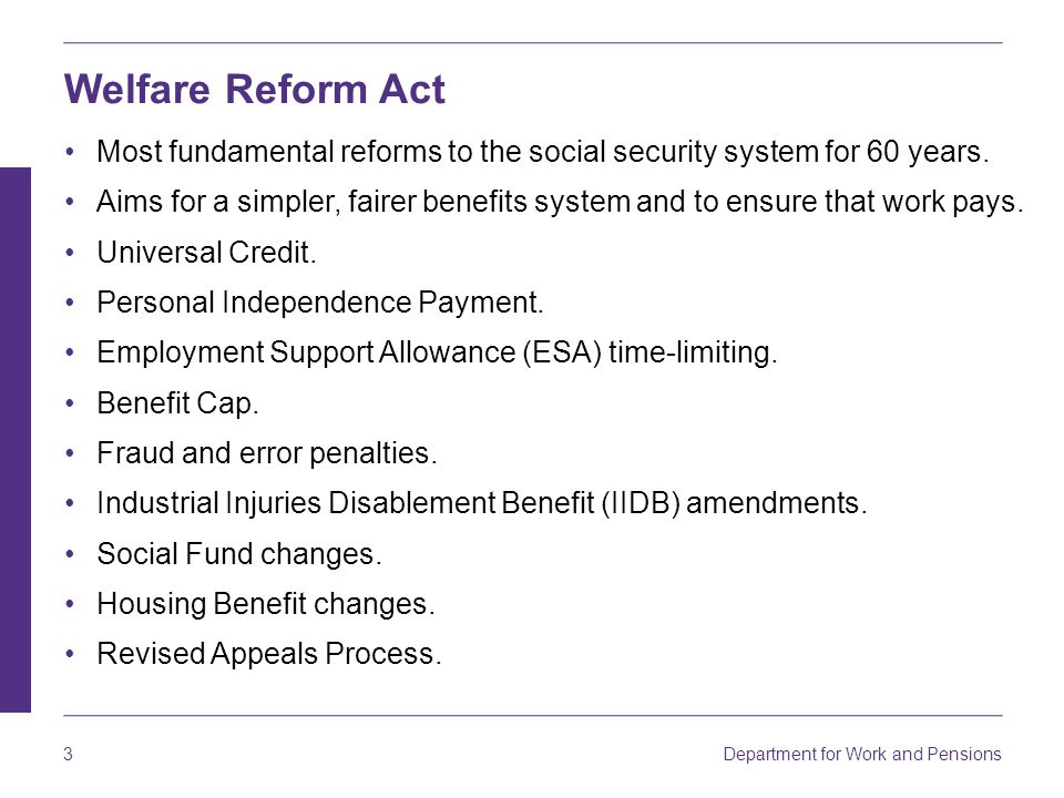 Welfare Reform Act Most fundamental reforms to the social security system for 60 years.