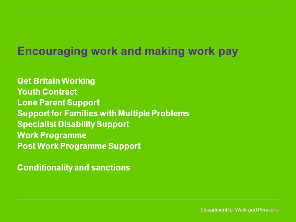 Encouraging work and making work pay Get Britain Working Youth Contract Lone Parent Support Support for Families with Multiple Problems Specialist Disability Support Work Programme Post Work Programme Support Conditionality and sanctions