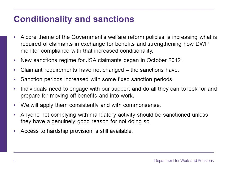 Conditionality and sanctions