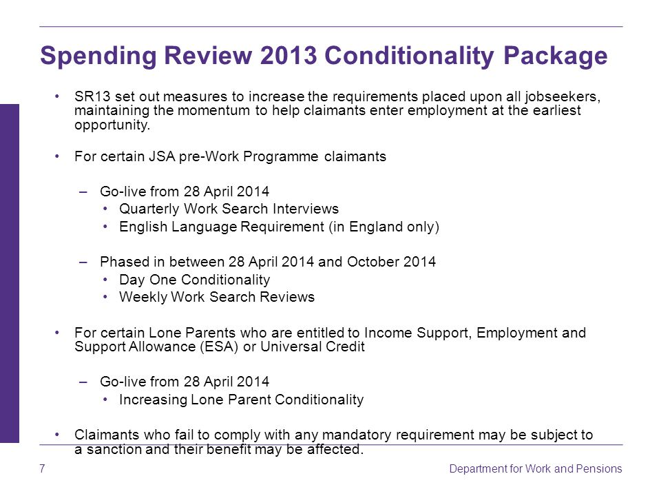 Spending Review 2013 Conditionality Package