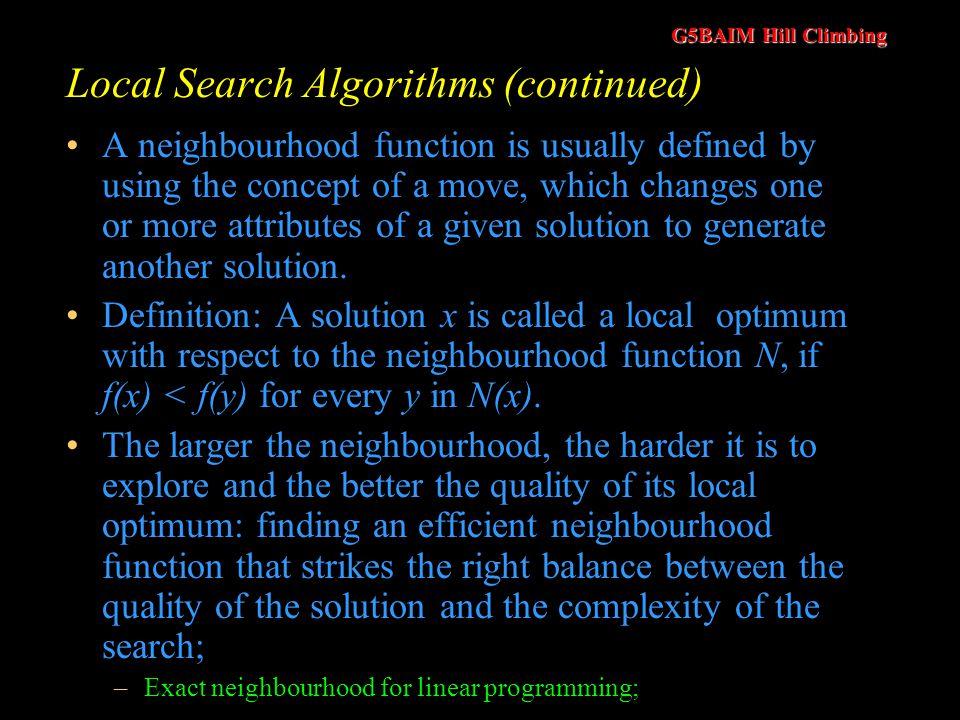 Local Search Algorithms (continued)