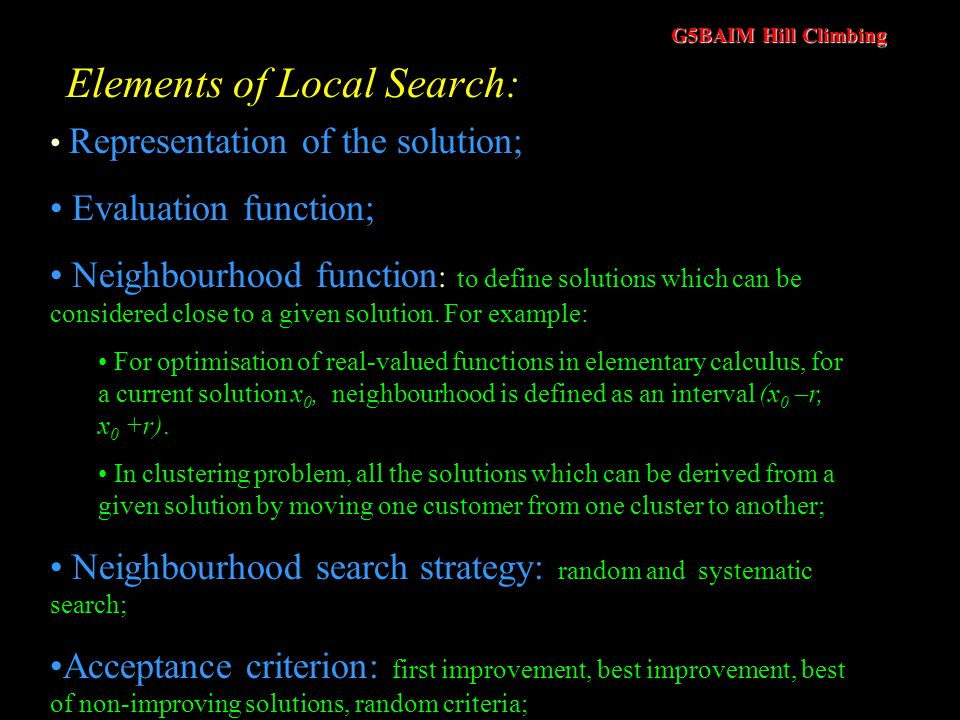 Elements of Local Search: