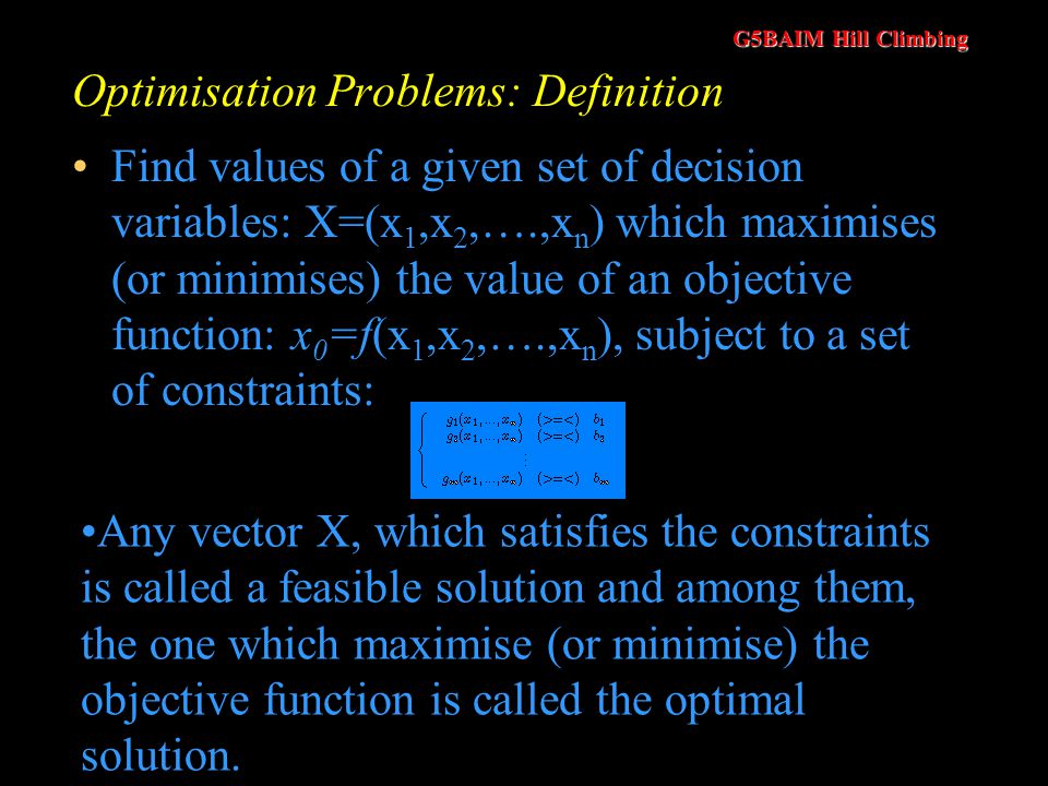 Optimisation Problems: Definition