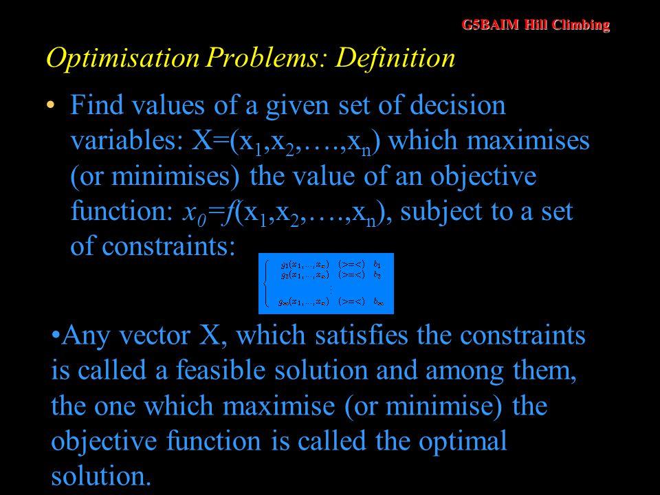 Optimisation Problems: Definition