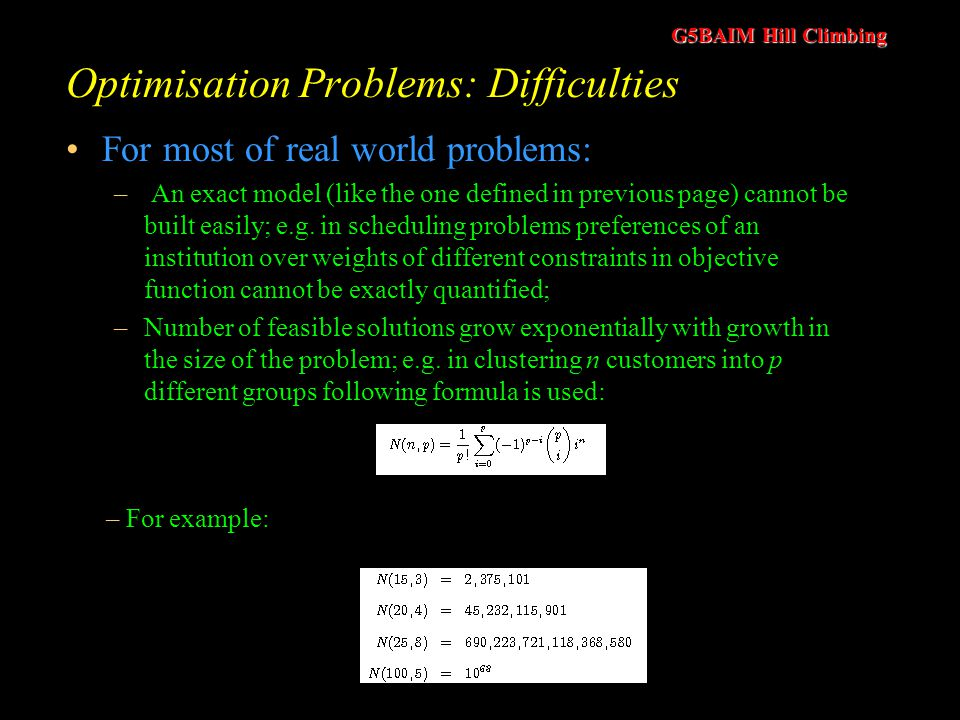 Optimisation Problems: Difficulties