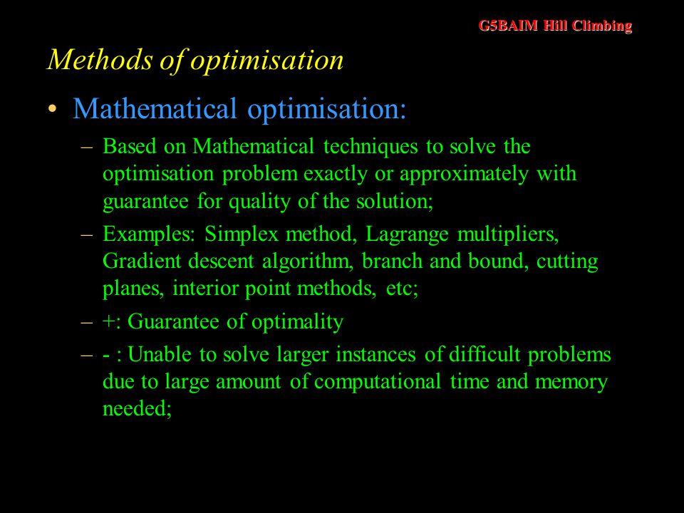 Methods of optimisation