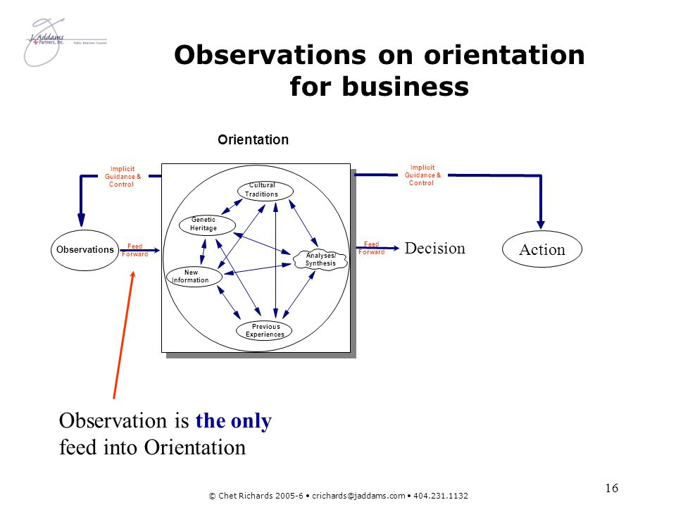 Observations on orientation for business