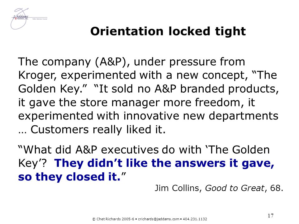 Orientation locked tight