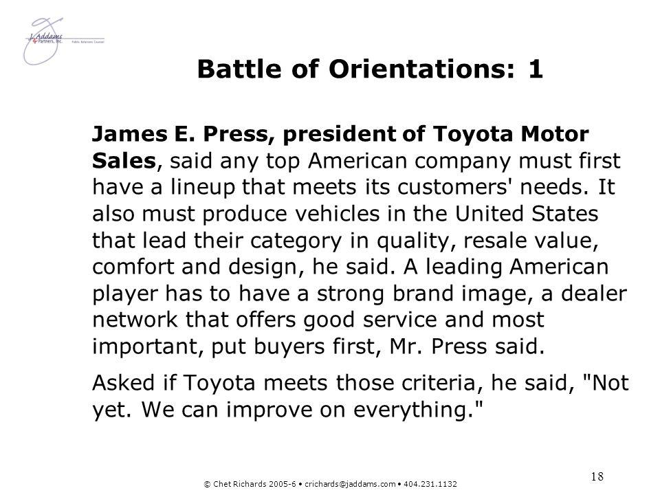 Battle of Orientations: 1