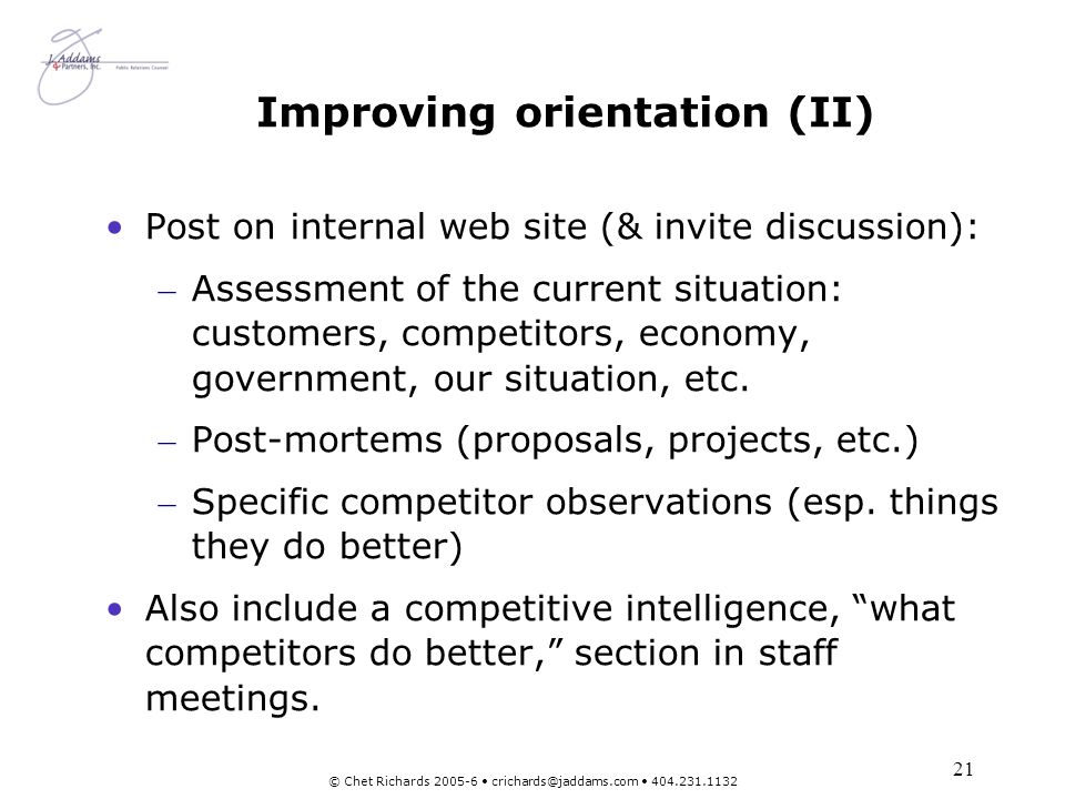 Improving orientation (II)