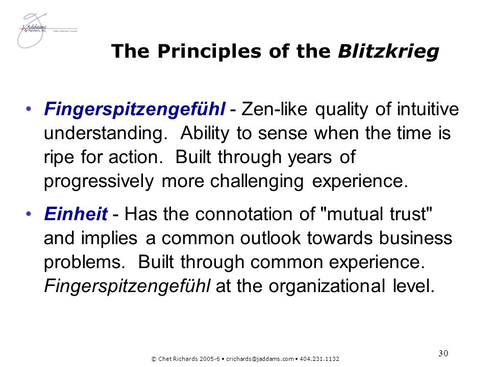 The Principles of the Blitzkrieg