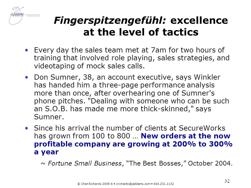 Fingerspitzengefühl: excellence at the level of tactics