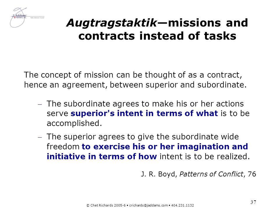 Augtragstaktik—missions and contracts instead of tasks