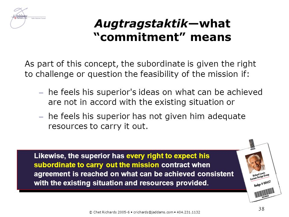 Augtragstaktik—what commitment means