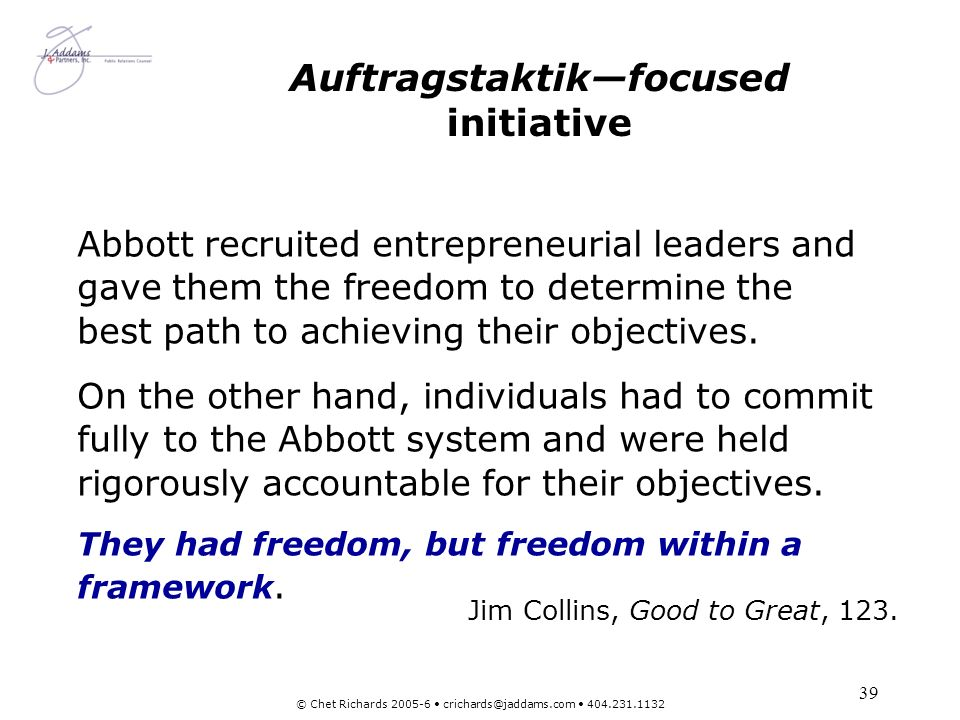 Auftragstaktik—focused initiative