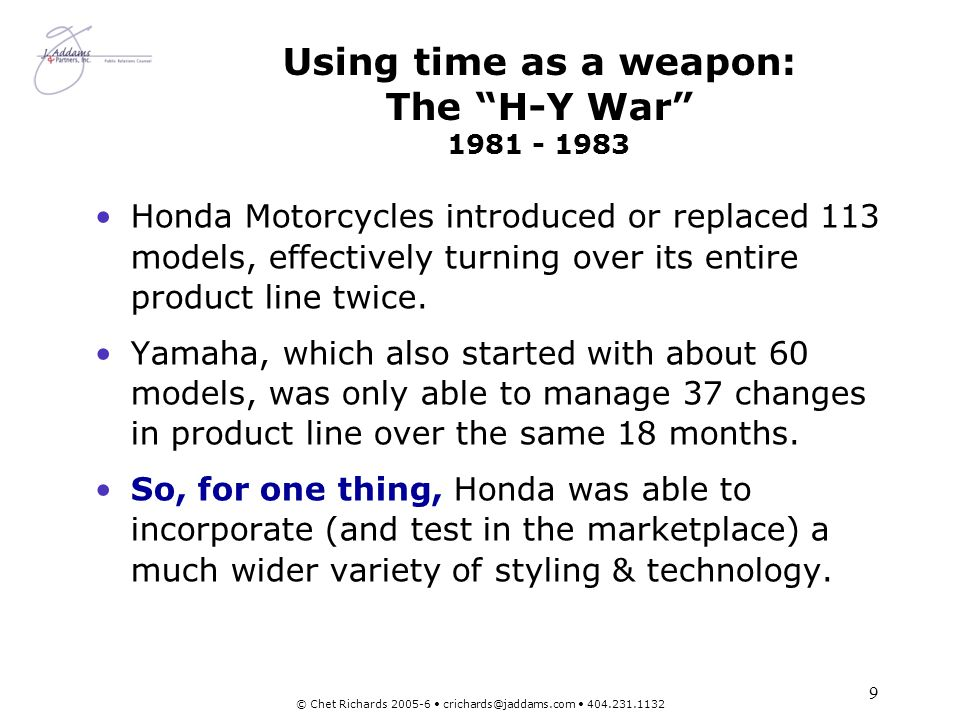 Using time as a weapon: The H-Y War 1981 - 1983