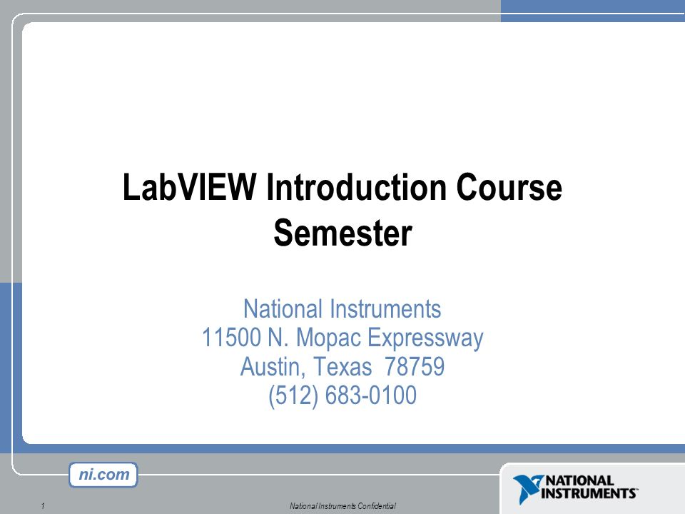 LabVIEW Introduction Course Semester