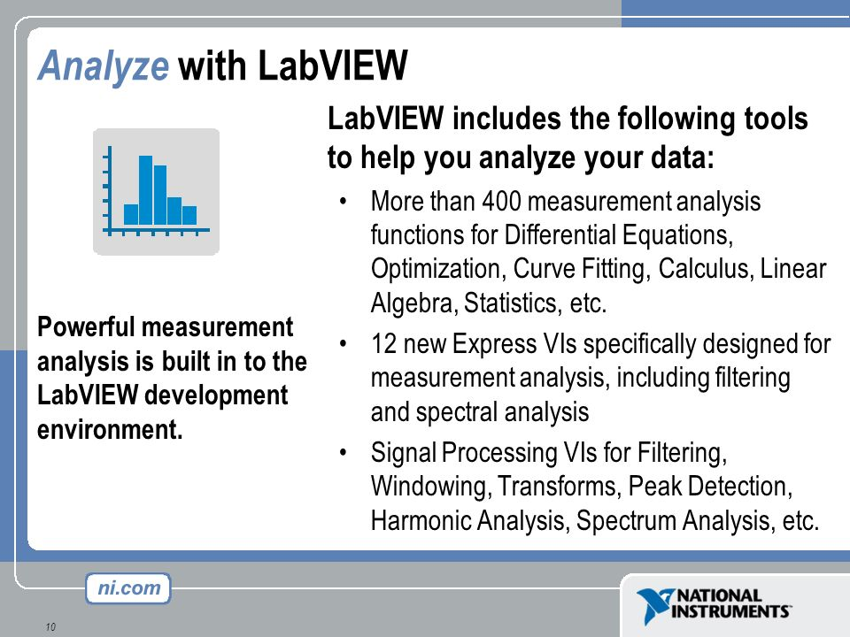 Analyze with LabVIEW LabVIEW includes the following tools to help you analyze your data:
