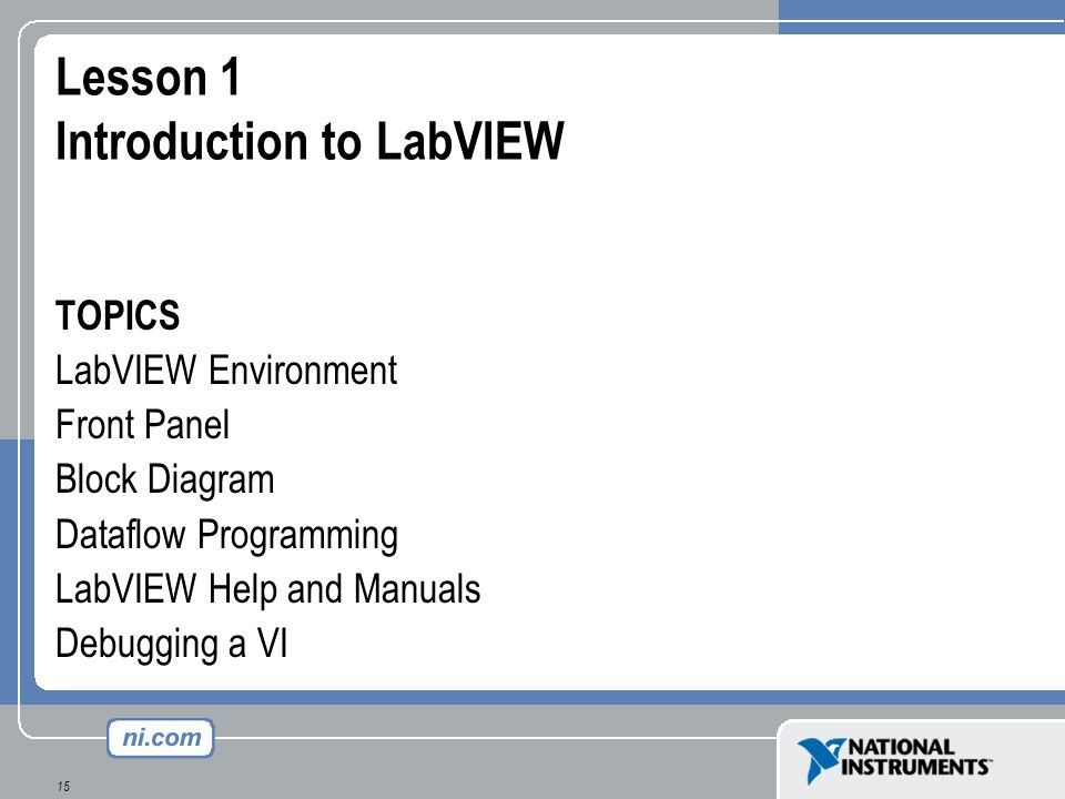 Lesson 1 Introduction to LabVIEW