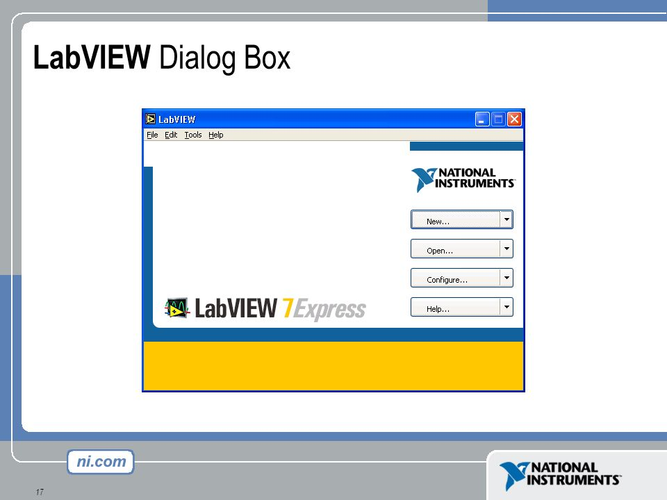 LabVIEW Dialog Box This slide shows the startup screen for LabVIEW 7.0