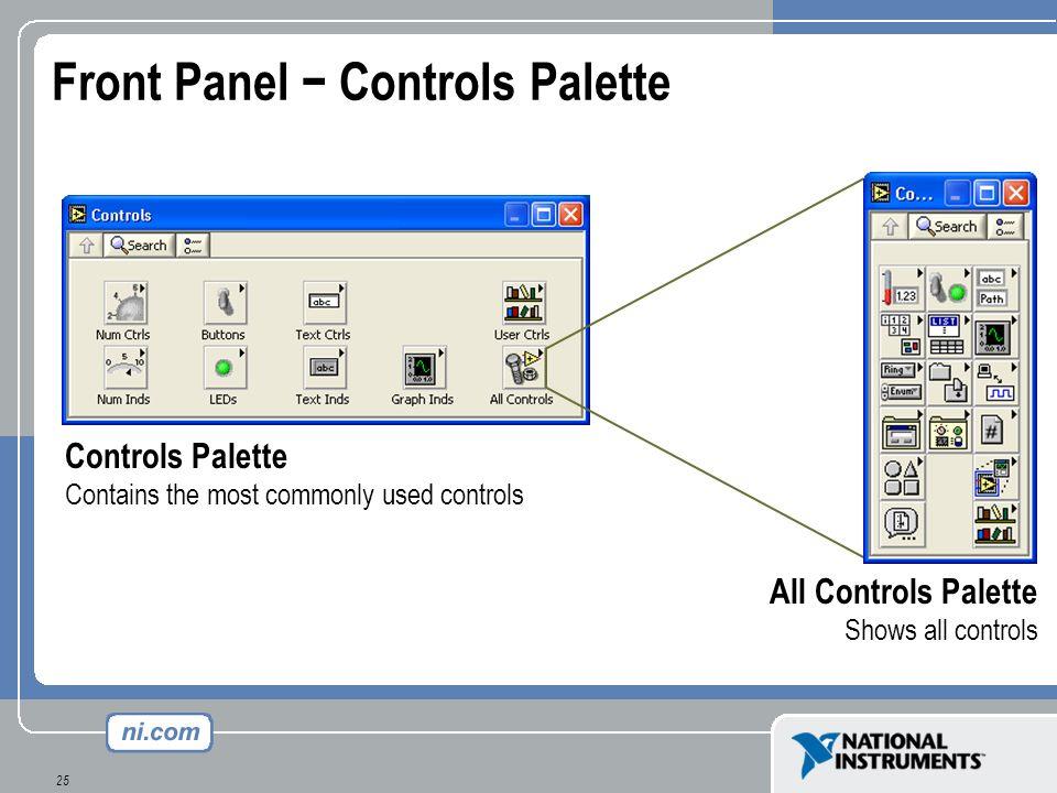 Front Panel − Controls Palette