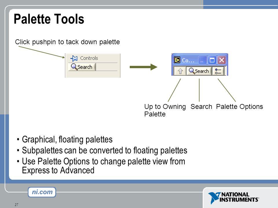 Palette Tools Graphical, floating palettes