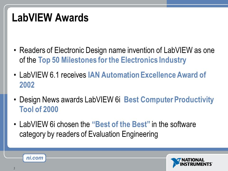 LabVIEW Awards Readers of Electronic Design name invention of LabVIEW as one of the Top 50 Milestones for the Electronics Industry.